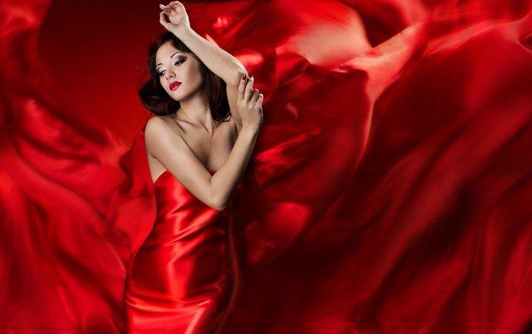 девушка, волосы, лицо, руки, красное платье, красная помада, красный фон, girl, hair, face, hands, red dress, red lipstick, red background