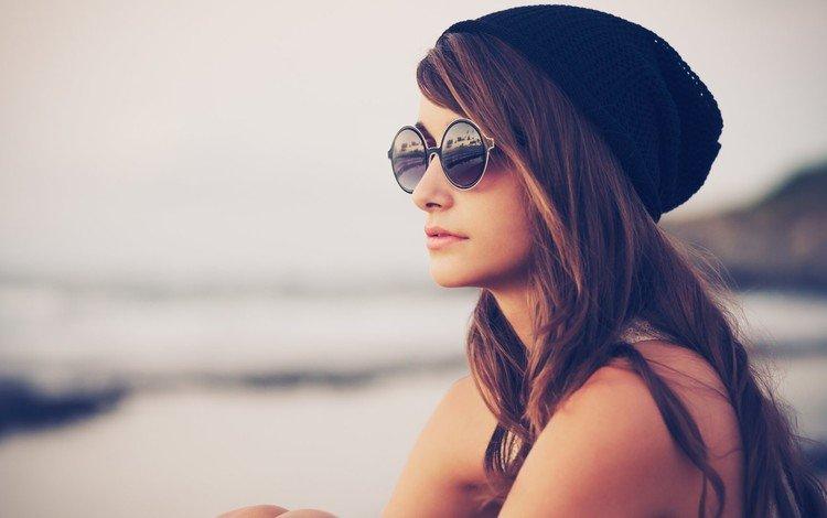 девушка, очки, модель, профиль, волосы, лицо, шапка, girl, glasses, model, profile, hair, face, hat