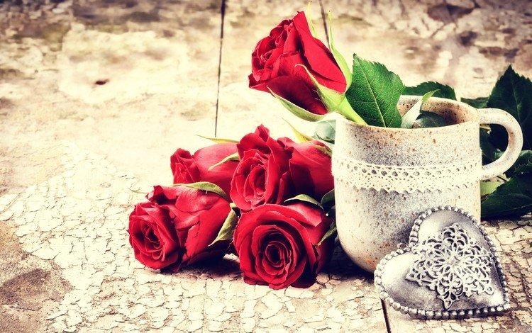 цветы, розы, сердечко, кружка, букет, день святого валентина, 14 февраля, flowers, roses, heart, mug, bouquet, valentine's day, 14 feb