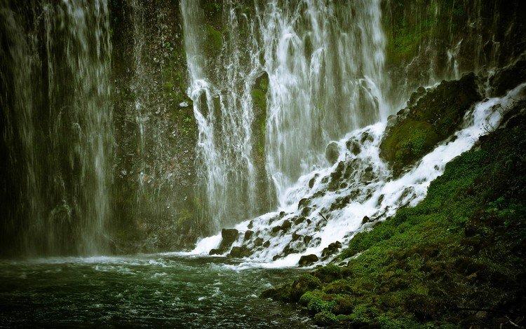 горы, камни, водопад, поток, ущелье, мох, mountains, stones, waterfall, stream, gorge, moss