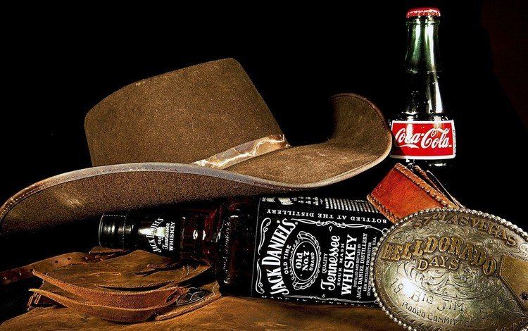 джек дэниелс, напитки, ковбойская шляпа, бутылки, jack daniel's, алкоголь, шляпа, натюрморт, кока-кола, виски, кола, jack daniels, drinks, cowboy hat, bottle, alcohol, hat, still life, coca-cola, whiskey, cola
