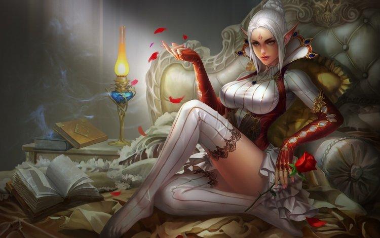 арт, девушка, блондинка, фэнтези, грудь, чулки, в красном, art, girl, blonde, fantasy, chest, stockings, in red