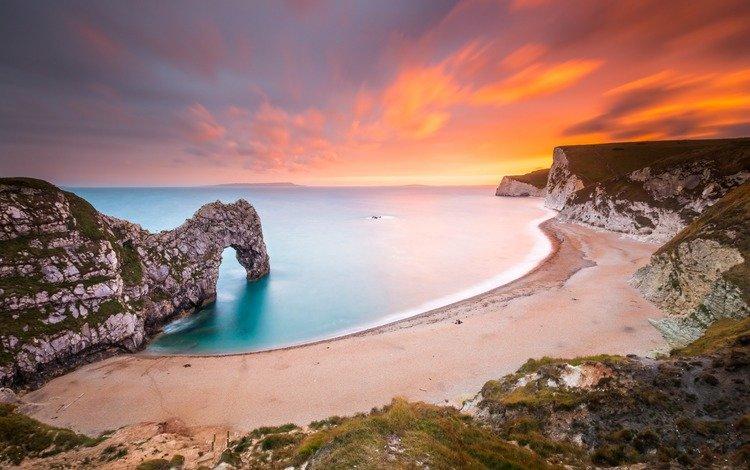 скалы, природа, берег, закат, пейзаж, море, пляж, арка, rocks, nature, shore, sunset, landscape, sea, beach, arch