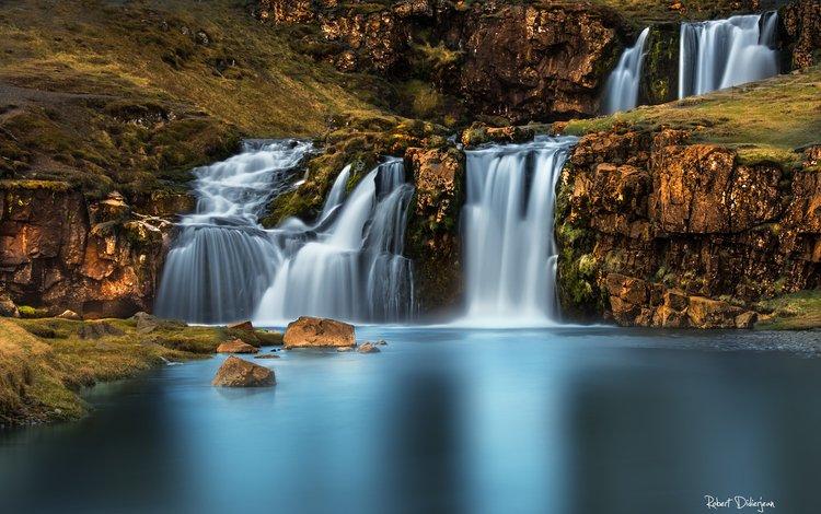 река, природа, водопад, осень, river, nature, waterfall, autumn