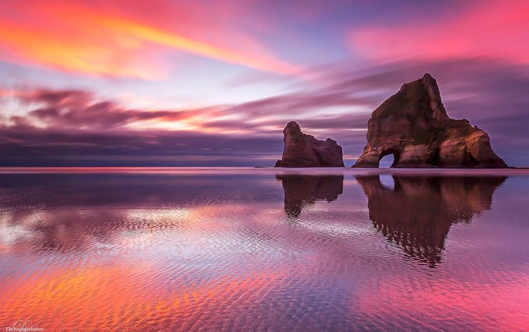 закат, море, пляж, побережье, пещера, sunset, sea, beach, coast, cave