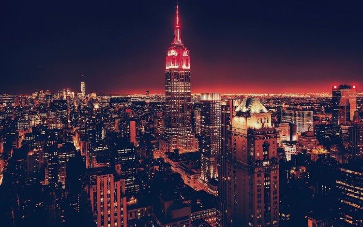 небоскребы, ночной город, сша, нью-йорк, skyscrapers, night city, usa, new york