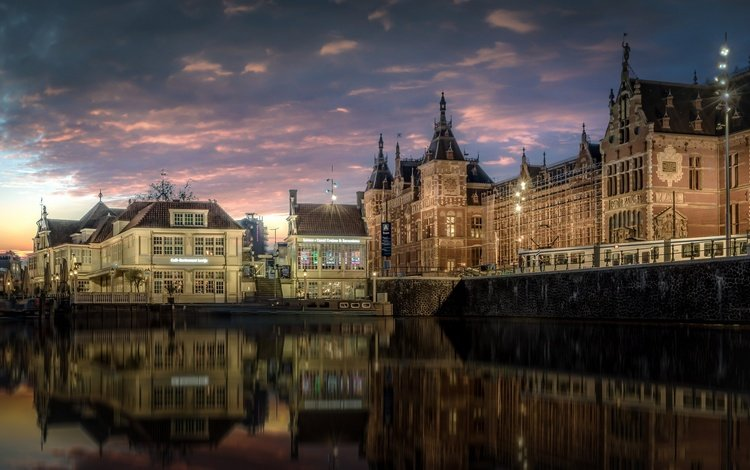 reflection, channel, home, building, netherlands, amsterdam