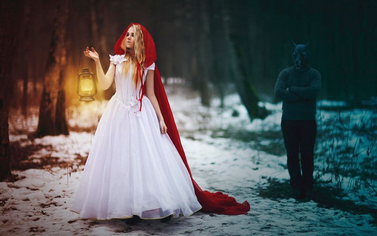girl, lantern, creative, wolf, little red riding hood, grey wolf, svetlana