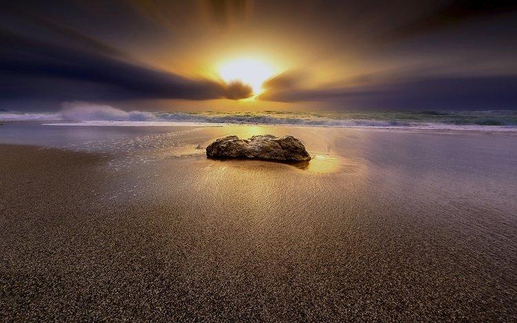 закат, пейзаж, море, песок, пляж, sunset, landscape, sea, sand, beach