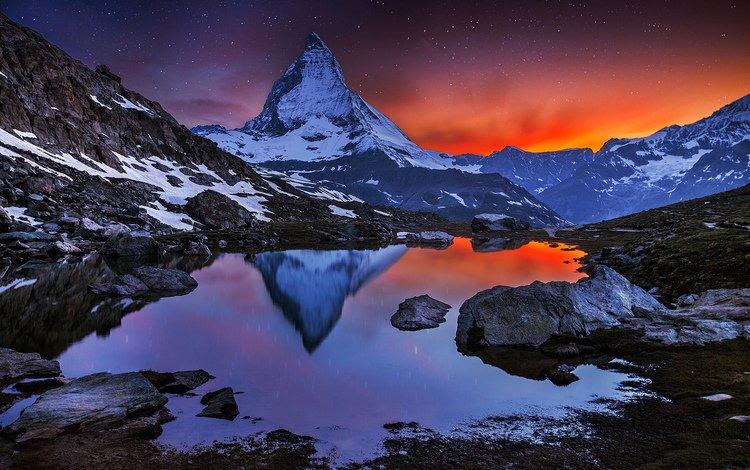 озеро, горы, закат, альпы, маттерхорн, lake, mountains, sunset, alps, matterhorn