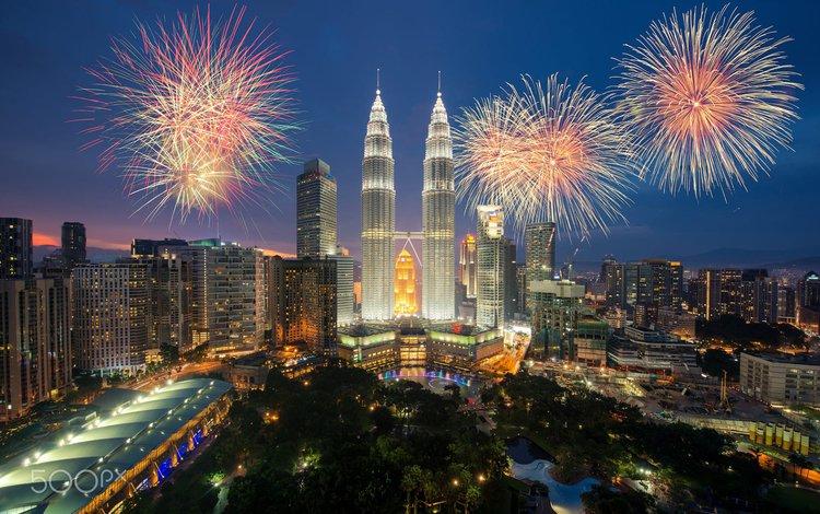 салют, город, фейерверк, малайзия, куала-лумпур, salute, the city, fireworks, malaysia, kuala lumpur