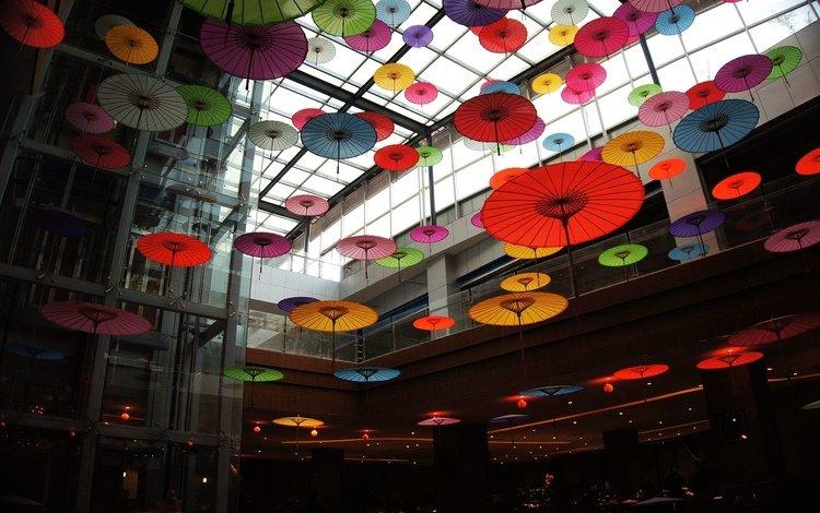 лифт, интерьер, зонтики, японские зонтики, lift, interior, umbrellas, japanese umbrellas
