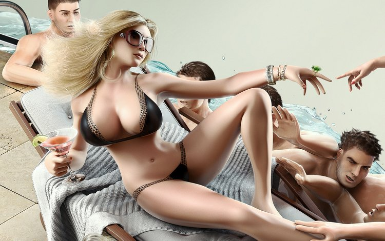 art, girl, chest, the game, on the couch, huge, sims4, симс4, with big breasts