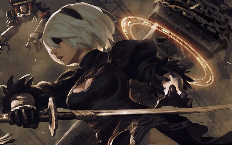 art, girl, the girl-soldier, game, 2b, yorha no.2 type b, girl warrior