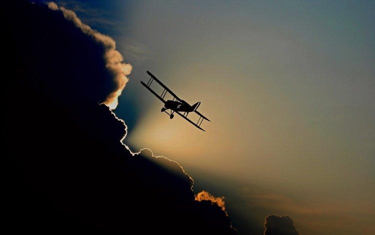 clouds, the plane, aviation, sky, aircraft, flight