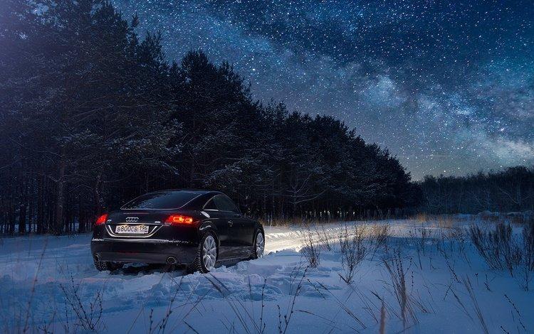 ночь, снег, лес, зима, ауди, автомобили, ауди тт, night, snow, forest, winter, audi, cars, audi tt