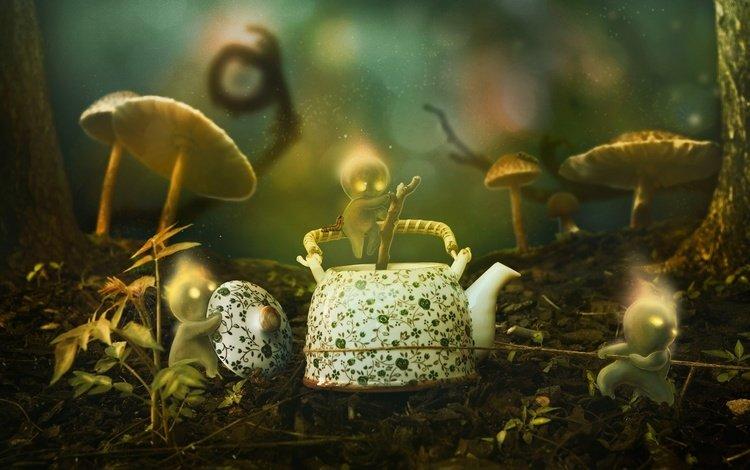 трава, 3д, деревья, стволы, грибы, графика, человечки, чайник, боке, grass, 3d, trees, trunks, mushrooms, graphics, men, kettle, bokeh