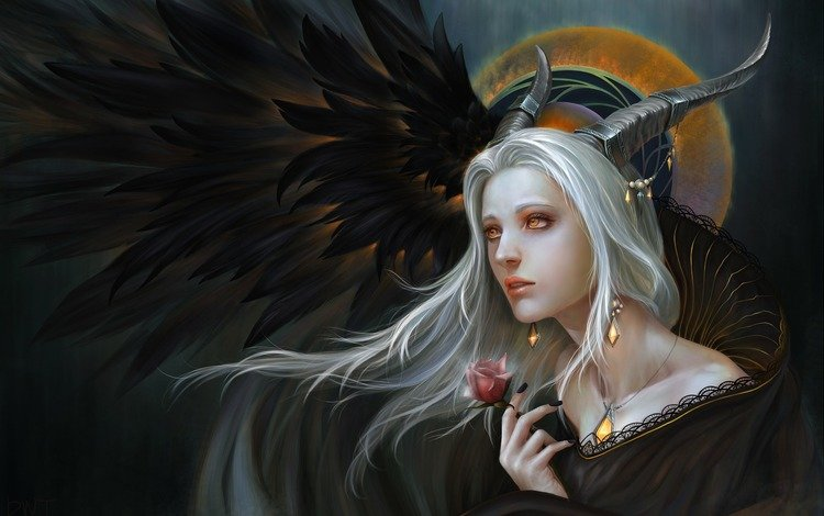 art, girl, fantasy, demon, dark elf