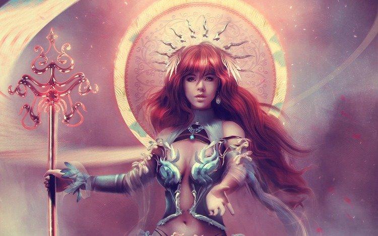 арт, украшения, девушка, фэнтези, рыжая, богиня, посох, магия, art, decoration, girl, fantasy, red, goddess, staff, magic