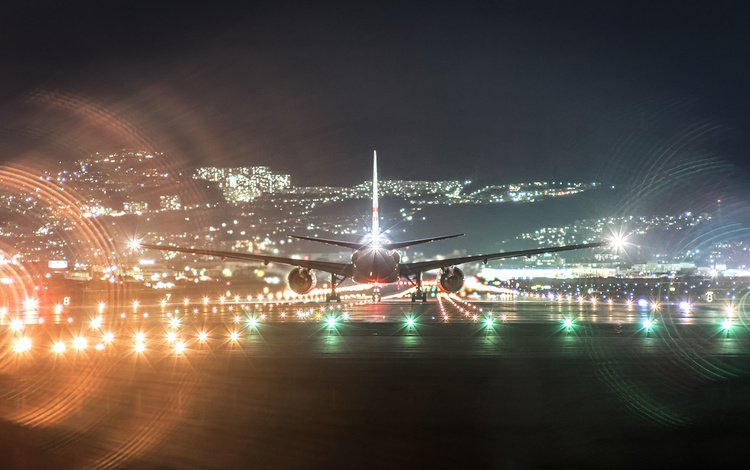 night, the plane, aviation, runway, boeing, a passenger plane, boeing 777
