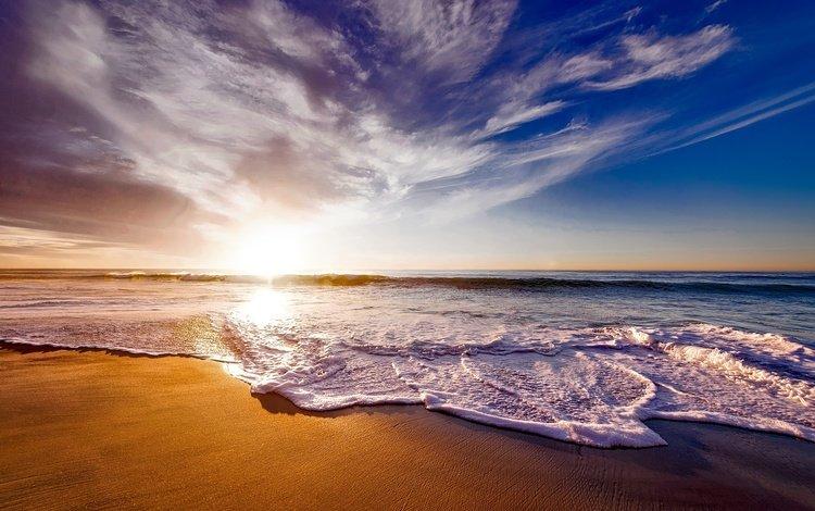 небо, горизонт, облака, пена, природа, калифорния, волны, закат, море, песок, пляж, the sky, horizon, clouds, foam, nature, ca, wave, sunset, sea, sand, beach