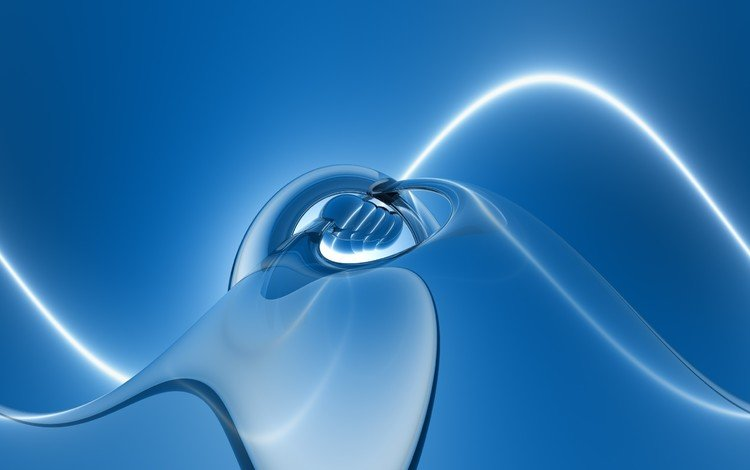 light, abstraction, line, wave, background, blue