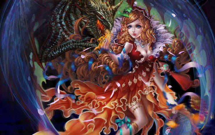 art, girl, dragon, fantasy