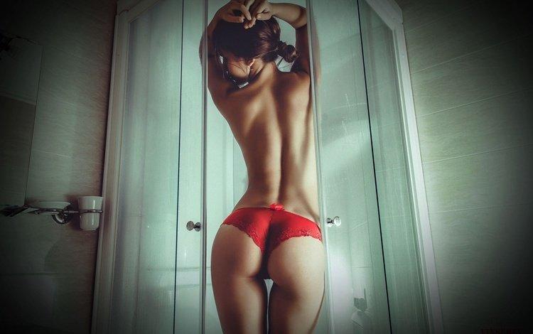 брюнетка, трусики, модель, фигура, тело, белье, попка, brunette, panties, model, figure, body, linen, ass