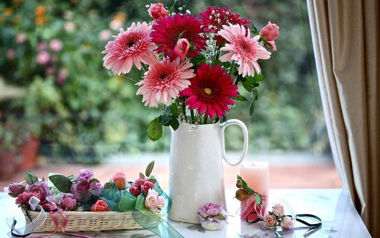 цветы, гипсофила, розы, букет, свеча, кувшин, герберы, корзинка, натюрморт, flowers, gypsophila, roses, bouquet, candle, pitcher, gerbera, basket, still life