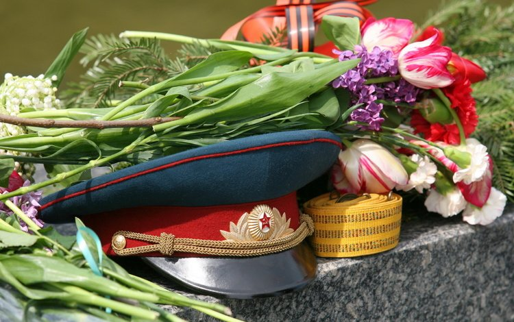 flowers, victory day, cap