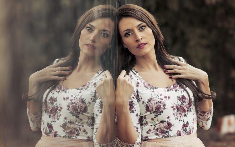девушка, отражение, взгляд, модель, волосы, girl, reflection, look, model, hair
