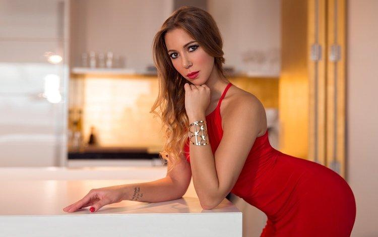 девушка, в красном, платье, шатенка, поза, peter paszternak, портрет, взгляд, модель, макияж, фигура, girl, in red, dress, brown hair, pose, portrait, look, model, makeup, figure