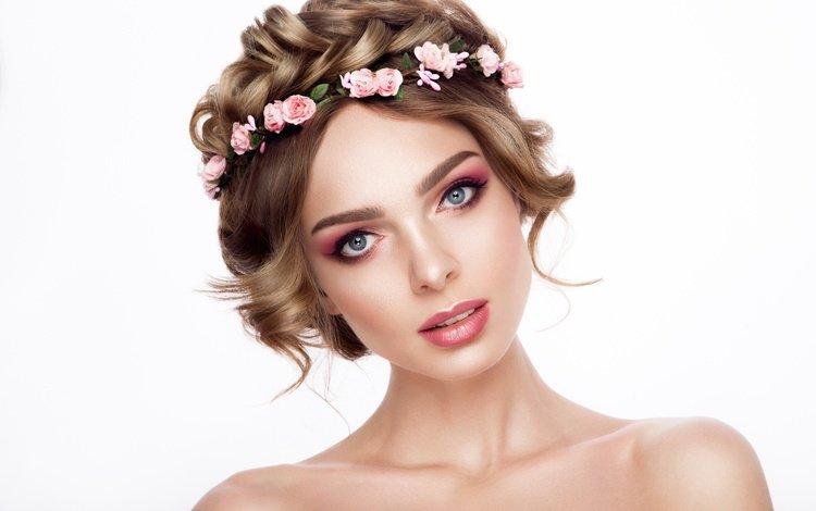 девушка, розы, взгляд, плечи, макияж, прическа, венок, girl, roses, look, shoulders, makeup, hairstyle, wreath