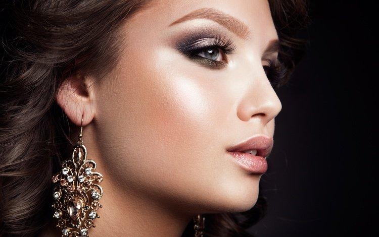 девушка, взгляд, макияж, ресницы, сережки, girl, look, makeup, eyelashes, earrings