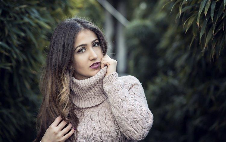 девушка, взгляд, модель, волосы, свитер, lorena veas, girl, look, model, hair, sweater