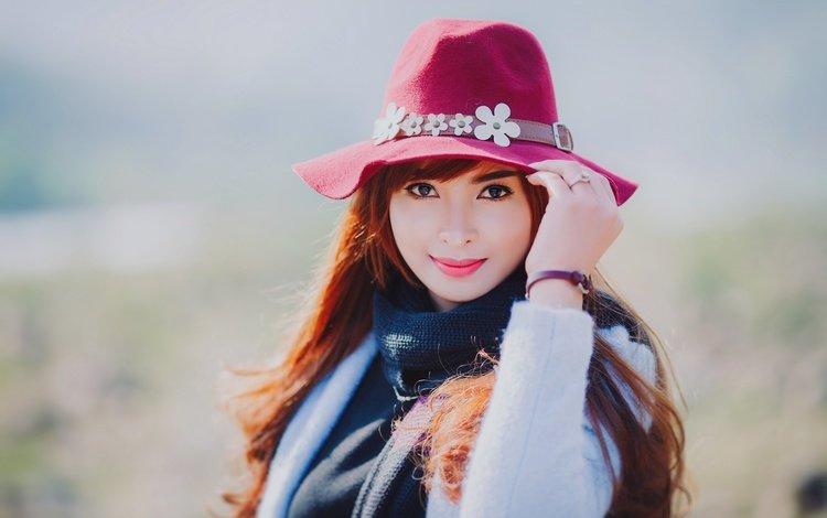 девушка, взгляд, шляпа, азиатка, girl, look, hat, asian