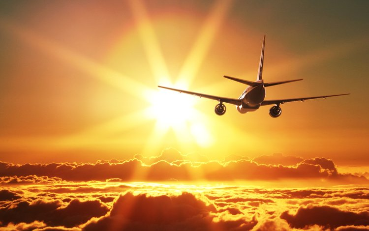 the sky, clouds, the sun, sunset, the plane, rays, flight, aviation, aircraft, neoa
