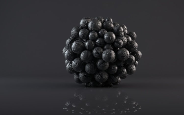 balls, abstraction, reflection, glare, black, 3d