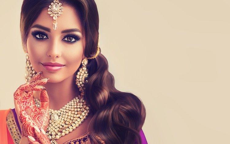 украшения, девушка, взгляд, татуировка, макияж, ресницы, индианка, decoration, girl, look, tattoo, makeup, eyelashes, indian