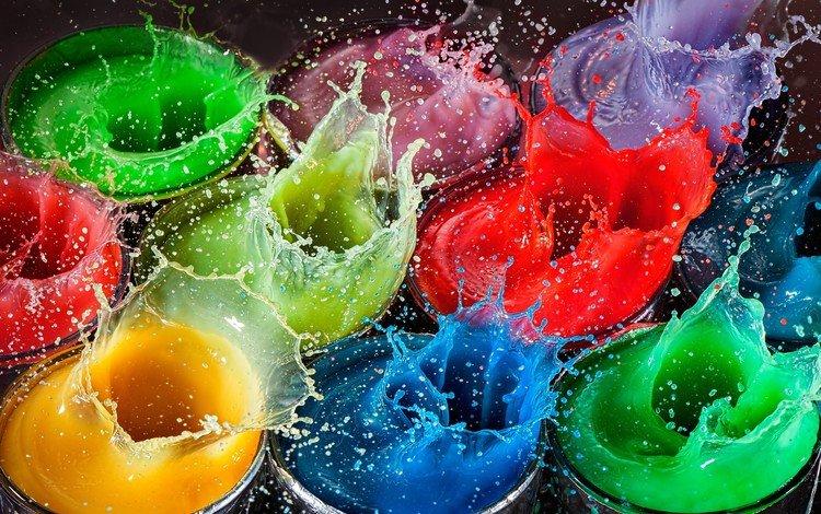 drops, colorful, paint, squirt, splash, bursts