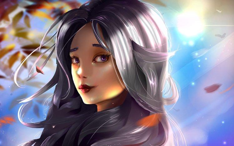 art, girl, look, fantasy, hair, face, doubidoubi