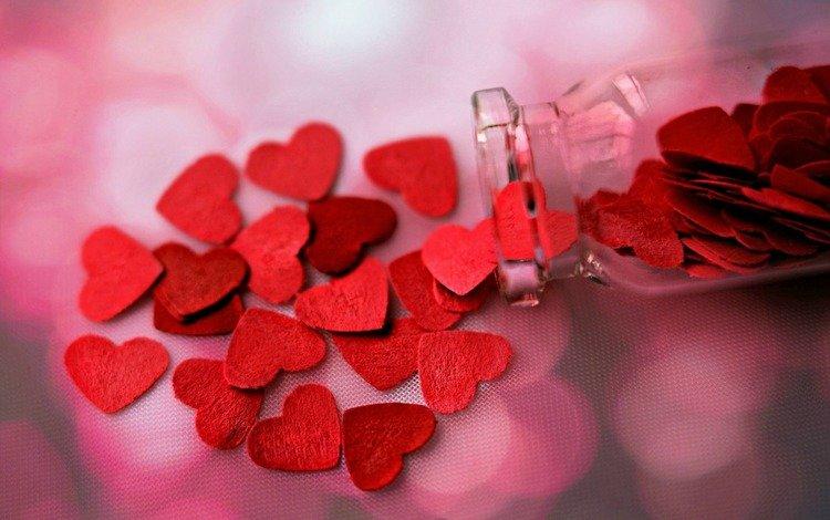 heart, bottle, hearts, seeds, jar, decor