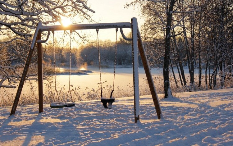 река, солнце, природа, зима, парк, качели, river, the sun, nature, winter, park, swing