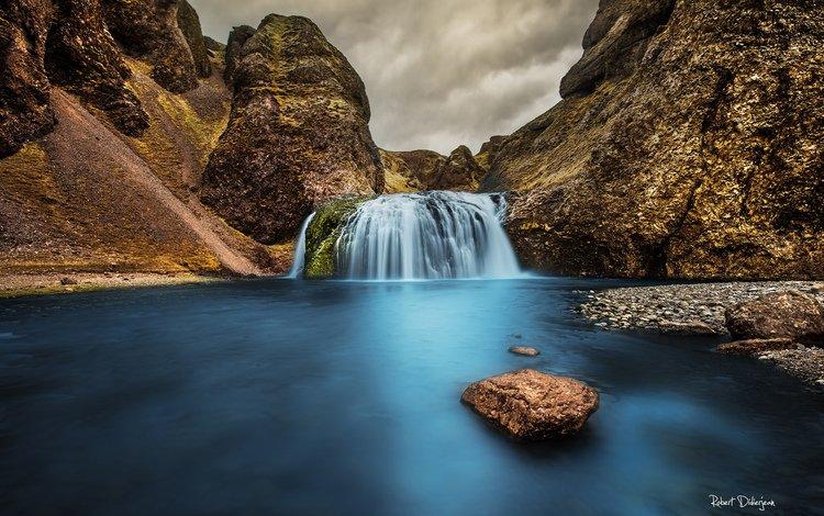 река, горы, природа, водопад, river, mountains, nature, waterfall