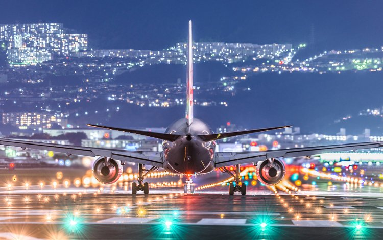lights, the plane, the city, the rise