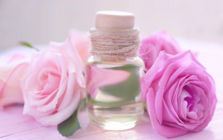 roses, oil, aroma, perfume, bottle