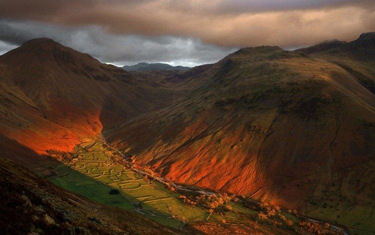 горы, пейзаж, великобритания, англия, долина, mountains, landscape, uk, england, valley