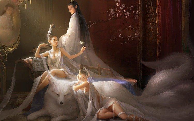 арт, лисица, парень, животное, бабочка, хвост, фэнтези, девушки, зеркало, комната, эльфы, art, fox, guy, animal, butterfly, tail, fantasy, girls, mirror, room, elves