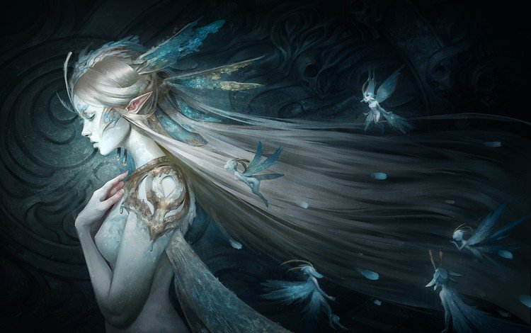art, girl, fantasy, fairy, elf, skyzocat