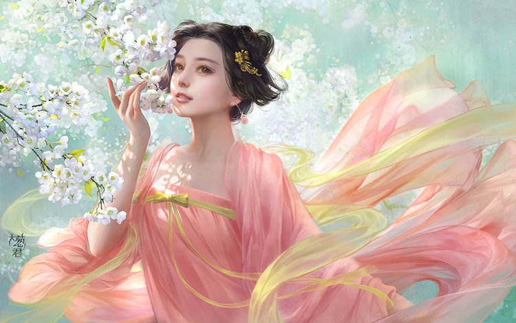 art, flowering, girl, fantasy, spring